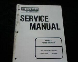 1996 Mercury Mariner Force 75 Hp Outboard Motor Workshop Service Manual Book Ebay