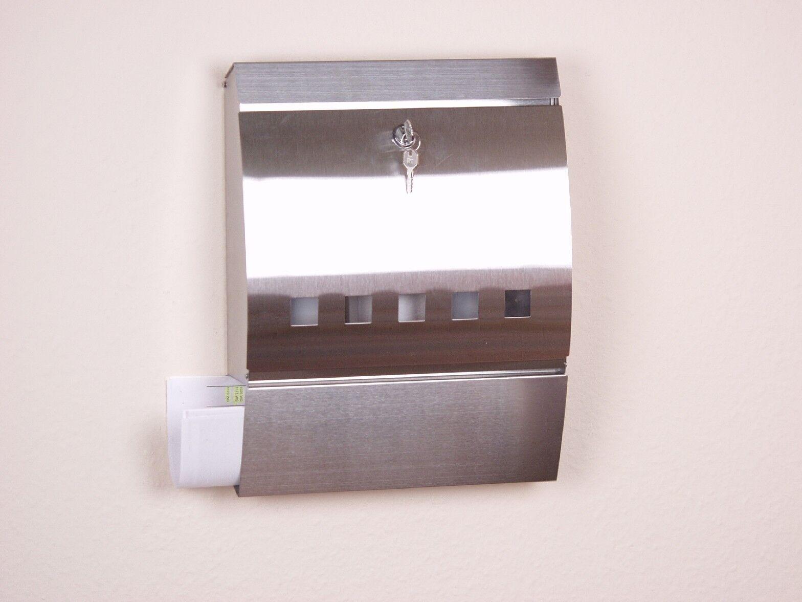 Edelstahl Briefkasten mit Zeitungsfach Wandbriefkasten