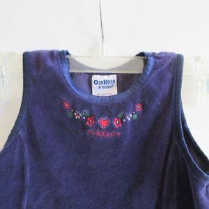 Oshkosh-B-039-Gosh-4T-Girls-Sleeveless-Dress-Jumper-Embroidered-Flowers-Navy-Blue