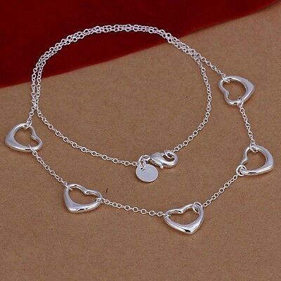 New Women 925 Sterling Silver Plated Love 5 Heart Pendant Necklace Chain Jewelry