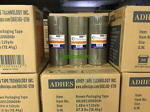 "36 Rolls Premium Brown Carton Box Sealing Packing Tape 2.5 Mil Thick 2""x110 yard"