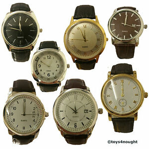 Quartz-Analogue-Face-Wrist-Watch-Faux-Leather-Strap-Silver-Gold-Plated-Xmas-Gift