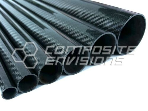 "1.25/"" OD 48/"" long Roll Wrapped Carbon Fiber Tube Twill Weave Gloss Finish"