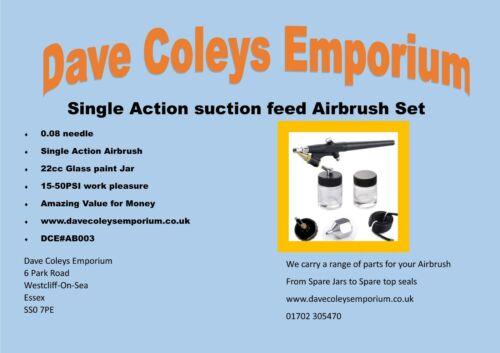 Single Action Airbrush Suction 0.8 needle Model Making cake decorating Parts