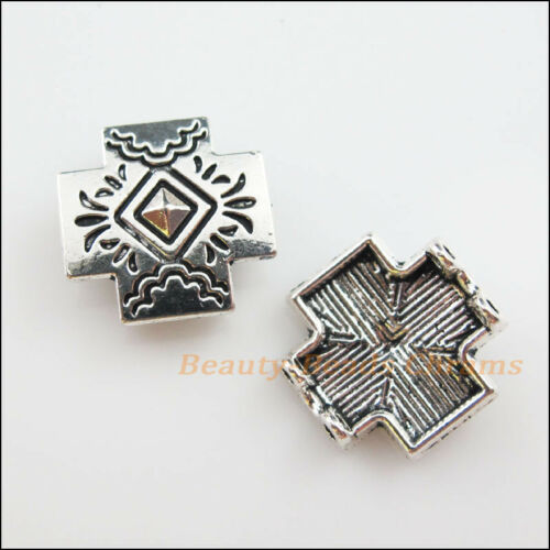 5Pcs Antiqued Silver 2-Hole Cross Spacer Bar Beads Connectors Charms 18.5mm