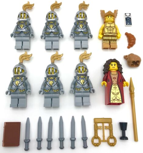 LEGO 8 NEW KINGDOMS LION KNIGHT WARRIORS MEN WITH KING QUEEN ARMOR AND WEAPONS