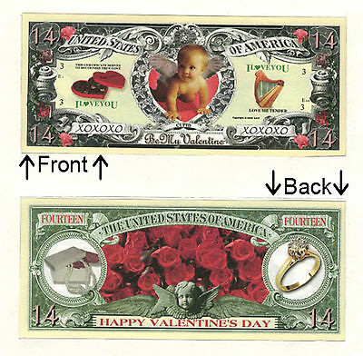 Valentines Day Love 14 Dollars Novelty Bill Notes 1 5 25 50 100 500 or 1000