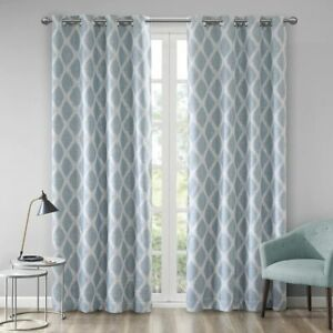 Sunsmart Blackout Blakesly Aqua 50 In X 63 In Silver Grommet Lined Curtain Panel Ebay