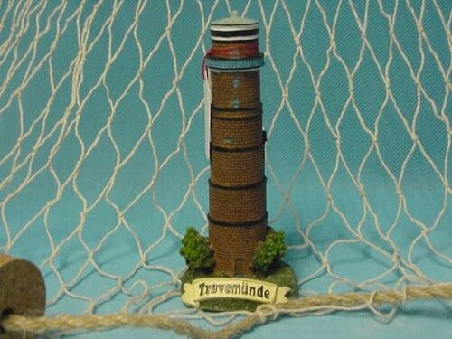 12 cm Polystone Leuchtturm Travemünde ca Maritime Dekoration Leuchttürme