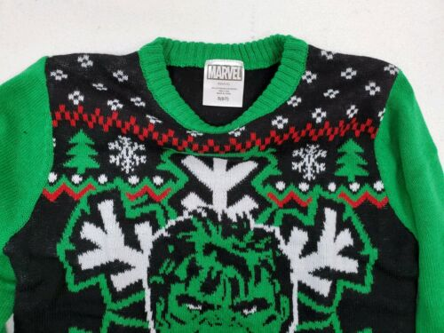 Marvel Hulk Holiday  Snow Stripes Flakes Ugly Christmas Kids Knitted Sweater