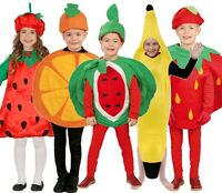Kids Boys Girls Fruit Food 5 A Day Orange Banana Fancy Dress Costumes Outfits