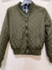 Therapy Bar Womens Juniors Olive Plaid Quilted Reversible Bomber Jacket Sm