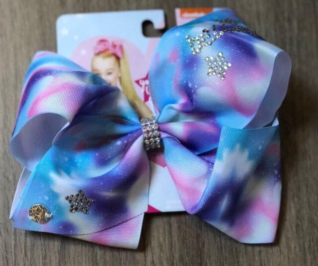 JoJo Siwa Blue Bow with Rose Gold Glitter Print Hairclip NWT