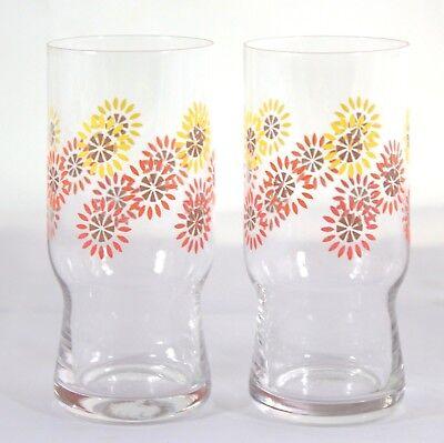 2 Gläser Glas Trinkglas Saftglas DDR 70er 70s blaue Blumen Ostalgie vintage