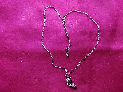 Colgante, Cadena De Plata Tono, enlace, Negro, Diamante Colgante de zapatos, vendedor del Reino Unido