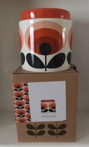Orla Kiely Large tige de stockage en céramique Pot de 1 L-OVALE FLEUR ORANGE Entièrement neuf dans sa boîte