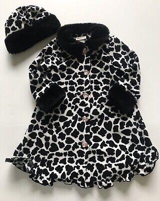 Little Girls 2T-6X Leopard Print Fleece Dress Coat /& Hat Set Bonnie Jean