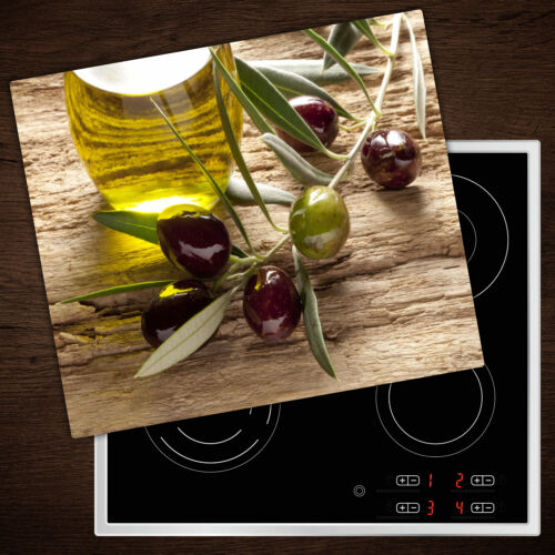 Herdabdeckplatten aus Glas Spritzschutz Olivenöl Holz 60x52 cm