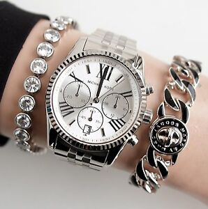 original michael kors watch for women mk5555 lexington colour silver new ebay