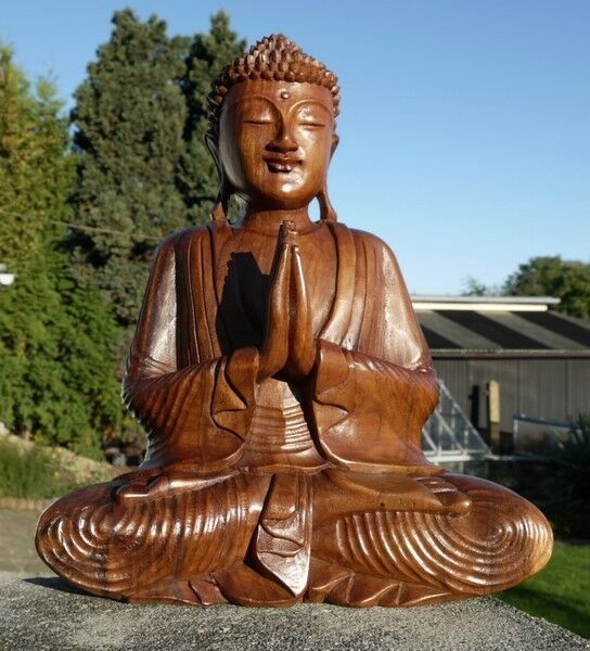 Super schöner 40 cm Gebet BUDDHA Meditation HOLZ BUDDA Feng Shui BMGEB40