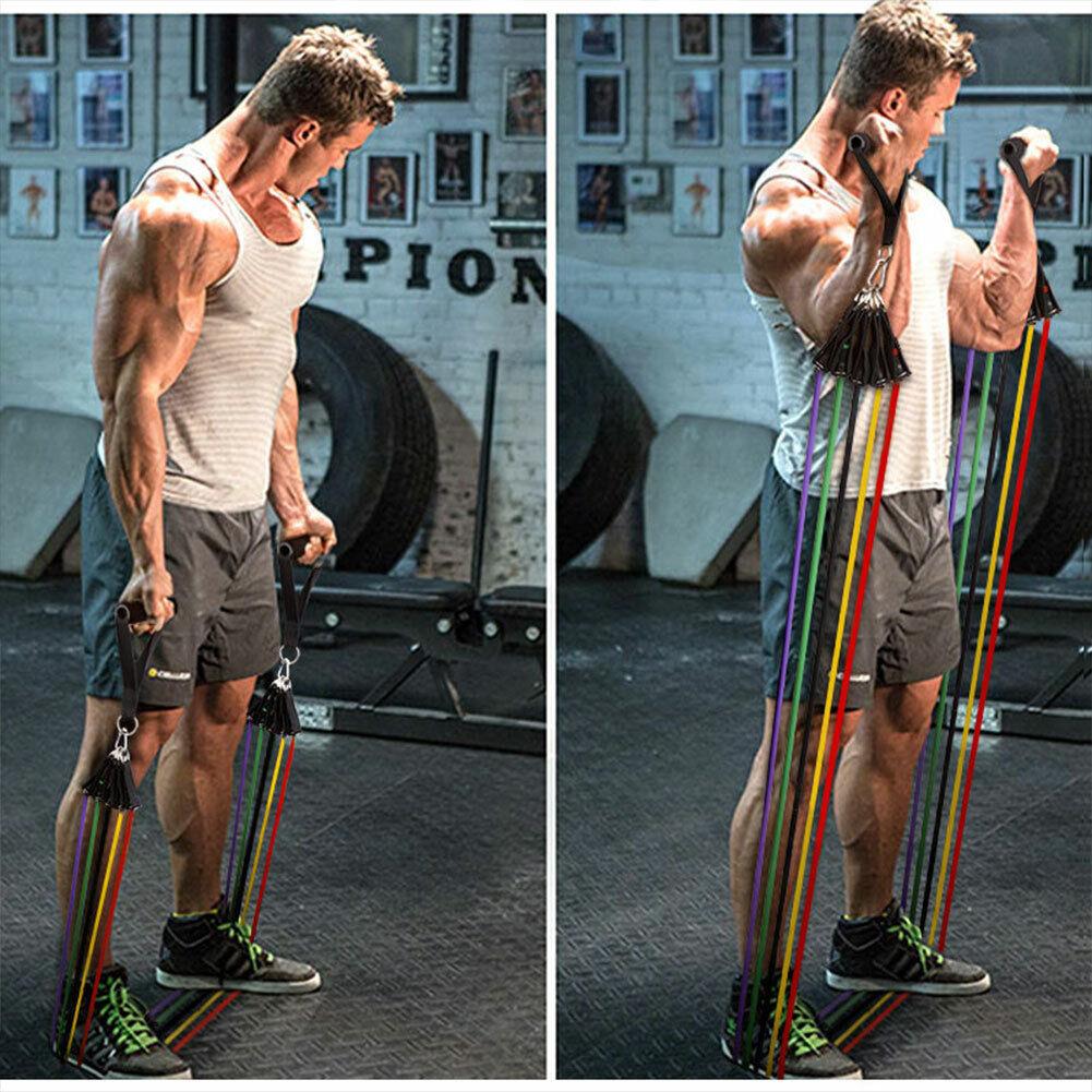 11 PCS Resistance Band Set Yoga Pilates Abs Exercise Fitness Tube Workout Bands 11
