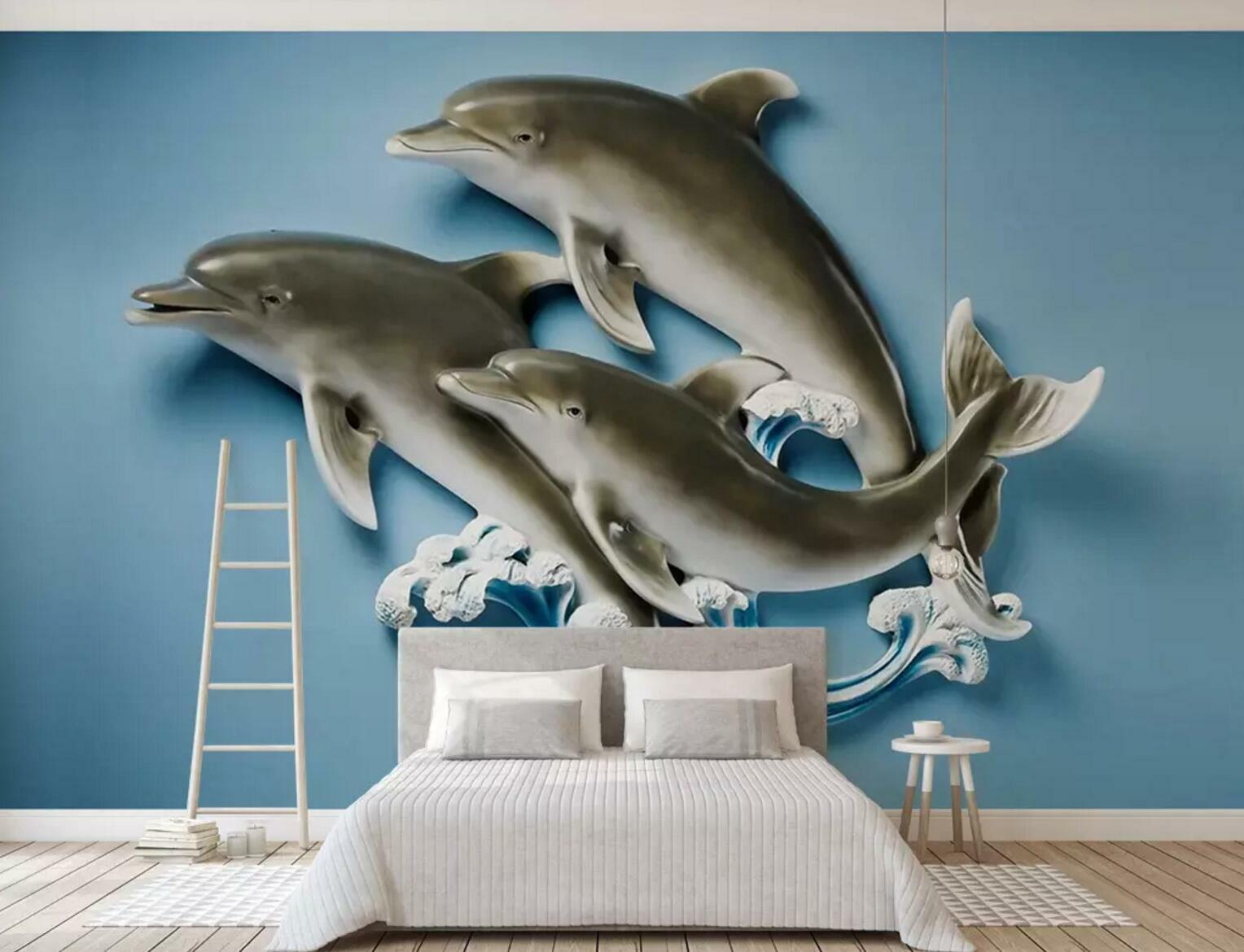 3D Dolphin Wave 38 Wall Paper Exclusive MXY Wallpaper Mural Decal Indoor wall AJ
