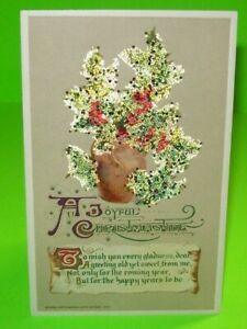 Christmas-Postcard-John-Winsch-1912-Original-Glitter-Holly-Plant-Antique-Vintage