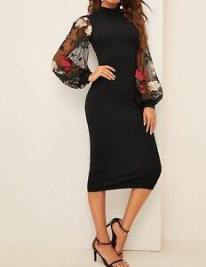Elegant-Bishop-Sleeve-Flower-Embroidered-Mesh-Sleeve-Stand-Collar-Pencil-Dress