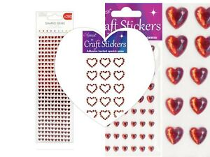 6 Red Diamante Double Hearts Self Adhesive Rhinestone Craft Embellishments