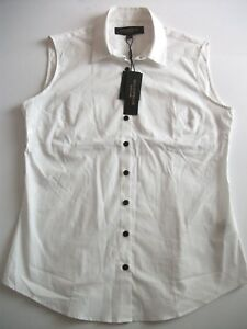 White 10 Size Womens Shirt Black Costelloe Paul Formal Label Sleeveless New wRHq8
