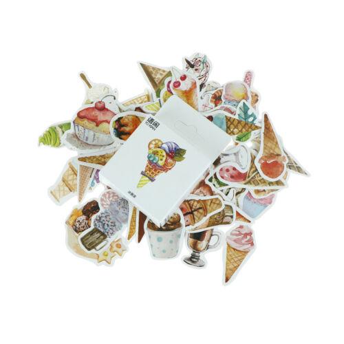 50pcs//box Ice Cream Paper Seal Stickers Scrapbooking DIY Diary Album Label PDH