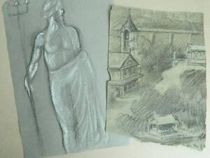 Lote-Dibujo-Original-Antiguo-Dibujo-a-Lapiz-Con-Brida-De-Tiza-Blanca