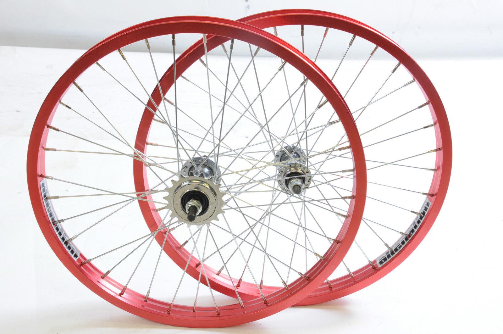 "PAIR 20"" BMX WHEELS ANODISED RED ALUMINIUM  ALIENATION  WIDE RIMS 3 8  AXLE NEW"