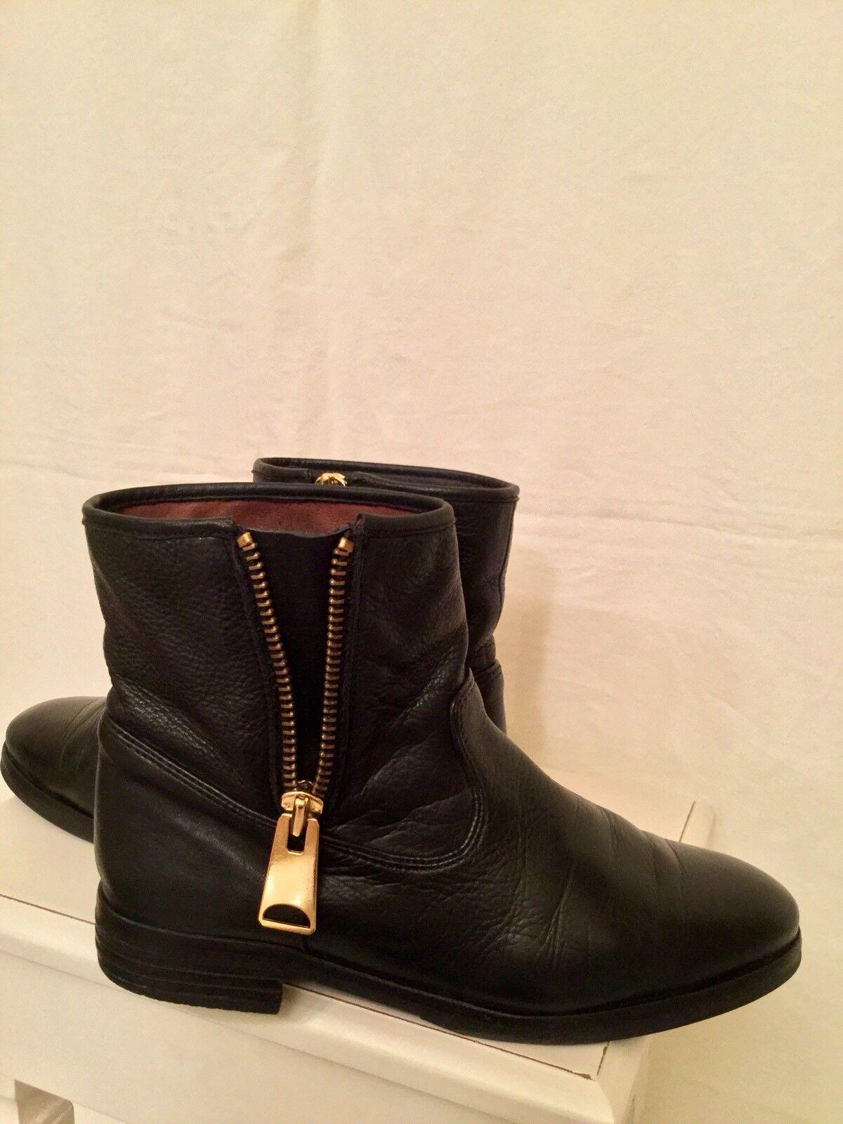Hochwert. NUBIKK Leder Stiefelette Stiefel Reißverschluss Biker Stiefel 40 schwarz