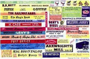 Shop-pub-name-signs-small-Paper-Copy-Enamel-SMFsm-Colour-OO-Scale-Models-Decals