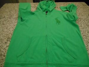 New-Men-Polo-Ralph-Sweater-Hooded-Small-Long-S-Green-on-green-Big-Pony