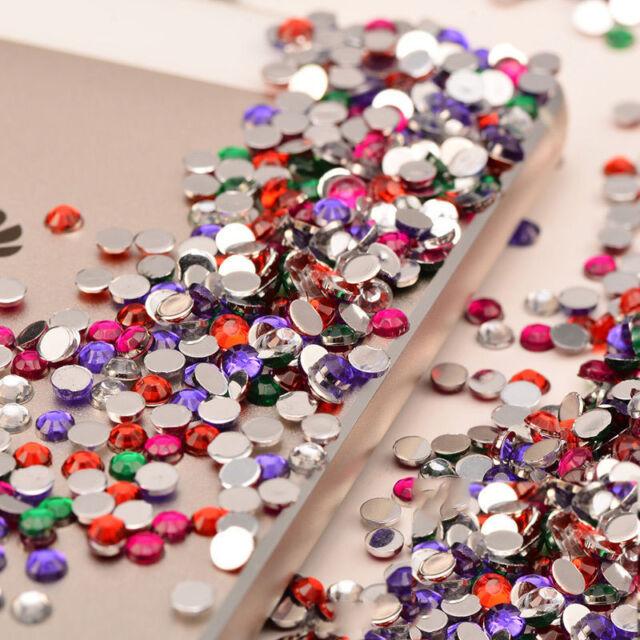 1000PCS DIY 3D Acrylic Nail Art Tips Gems Crystal Rhinestones Women Decoration