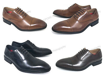 New Mens Dress Shoes Oxfords Cap-Toe Lace Up Leather Lined Wingtip Casual, Sizes
