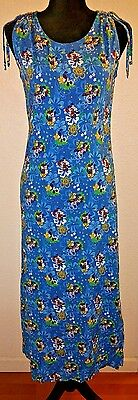 Disney Hawaiian Maxi Dress Tropical Flowers Blue Mickey Minnie sz Small