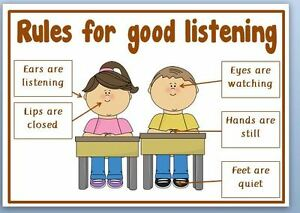RULES FOR GOOD LISTENING- CLASSROOM - LAMINATED  A4 POSTER
