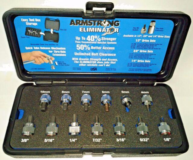 "Armstrong 13pc 3/8"" Dr Fractional / Metric Hex Bit Socket Set 16-290 5MH40 USA"