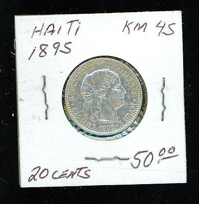 Coins Coins Humor 1895 Haiti 20 Centimes Km 45 Silver Coin