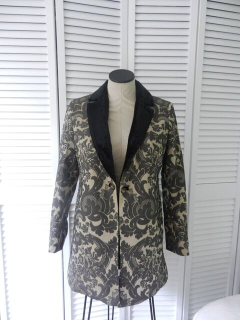 fcd26c736f3c3 New Soft Surroundings women's black-beige brocade 3/4 sleeve jacket, Size: