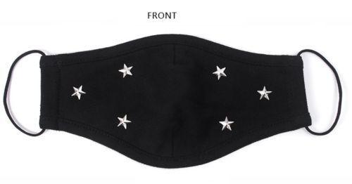 New Punk Gold/&Silver Pentagram Rivet 3 layer Cotton Face Mouth Mask Muffle Black