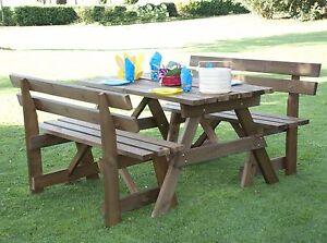 Tavolo da giardino + 2 panchine sedie con schienale arredamento ...
