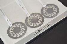 3 Georg Jensen 2016 Christmas Wreath Decorations SILVER + ribbons NEW inc g.wrap