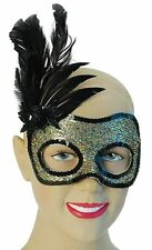 Sequin Side Feather Black & Gold Masquerade Eye Mask Fancy Dress NEW P6471