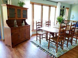 Details About Vintage 1959 Ethan Allen Dining Set Maple Table Chairs And Hutch Rare