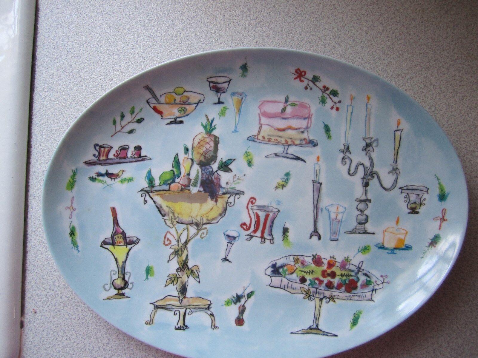 Oval 14  Crate&Barrel R.S.V.P. Platter Diane Bigda 1998 Japanese Porcelain Rare
