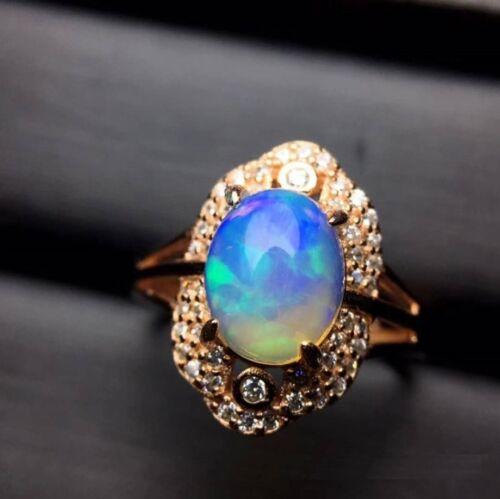 Real Natural Opal Gemstone rose S925 couleur or placage Bague anniversaire cadeau